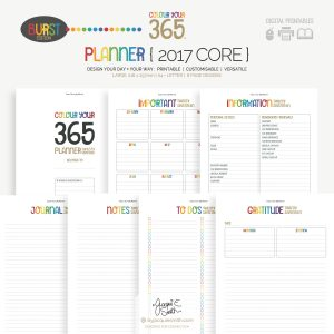 2017 Colour Your 365 Burst Edition printable planner : Core page designs at byjacquiesmith.com