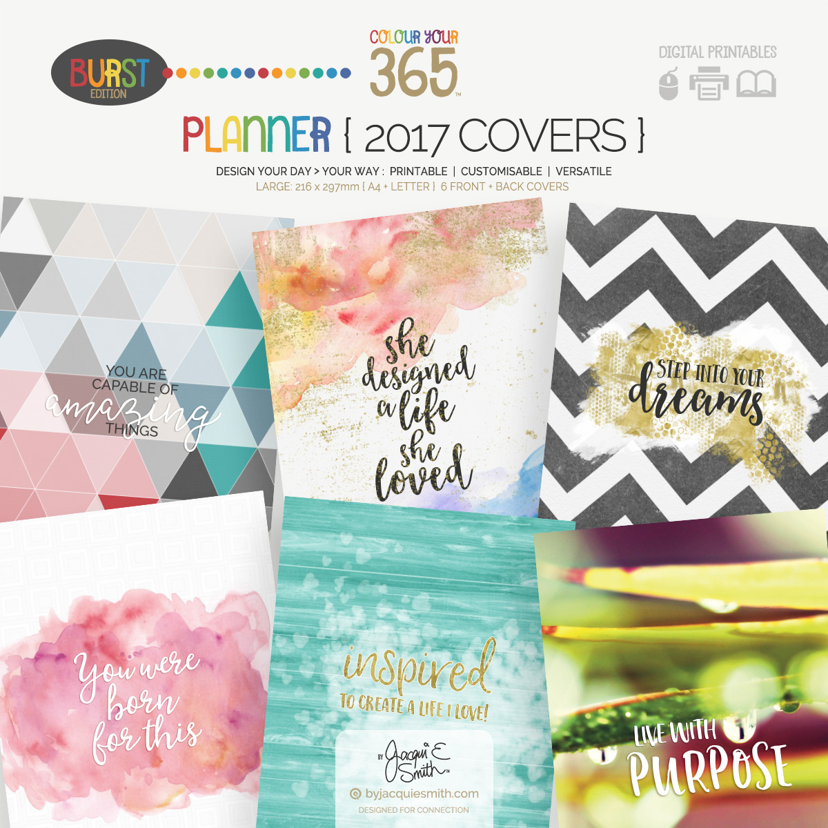 2017 Colour Your 365 Burst Edition printable planner Covers at byjacquiesmith.com