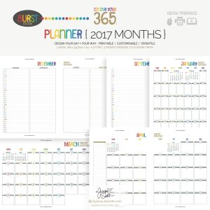 2017 Colour Your 365 Burst Edition printable planner : Month page designs at byjacquiesmith.com