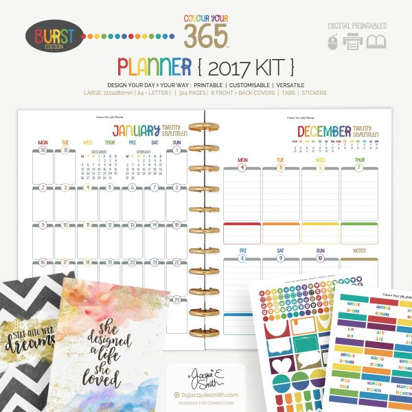 2017 Colour Your 365 Burst Edition printable planner : Complete Kit at byjacquiesmith.com