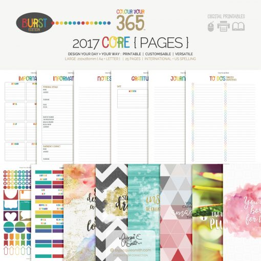 2017 Colour Your 365 Burst Edition printable planner : Core pages > see more + create your perfect planner at byjacquiesmith.com