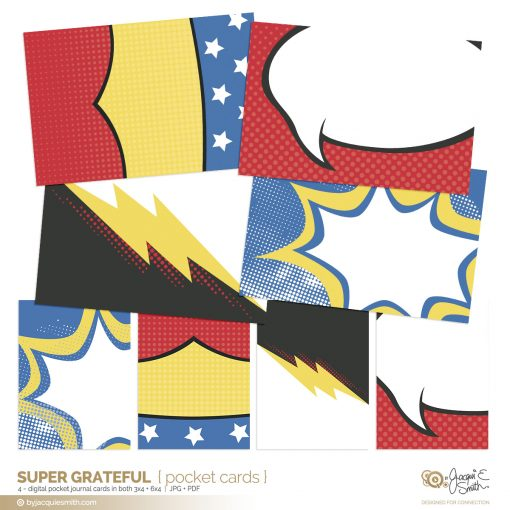 Super Grateful pocket cards part of the comic book style kit at byjacquiesmith.com