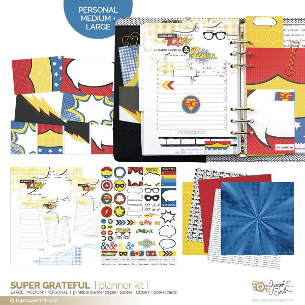FUSE:life Super Grateful comic book style planner printables at byjacquiesmith.com