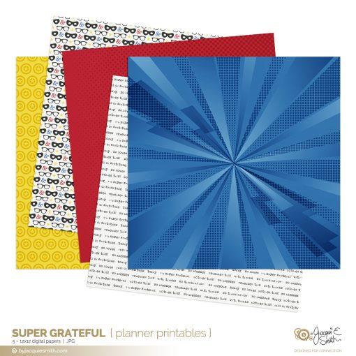 Super Grateful digital papers part of the comic book style kit at byjacquiesmith.com