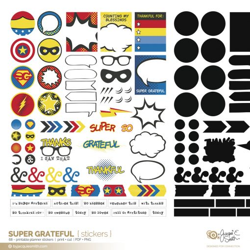 Super Grateful planner stickers part of the comic book style planner printables at byjacquiesmith.com
