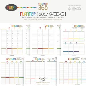 2017 Colour Your 365 Burst Edition printable planner : Week page designs at byjacquiesmith.com