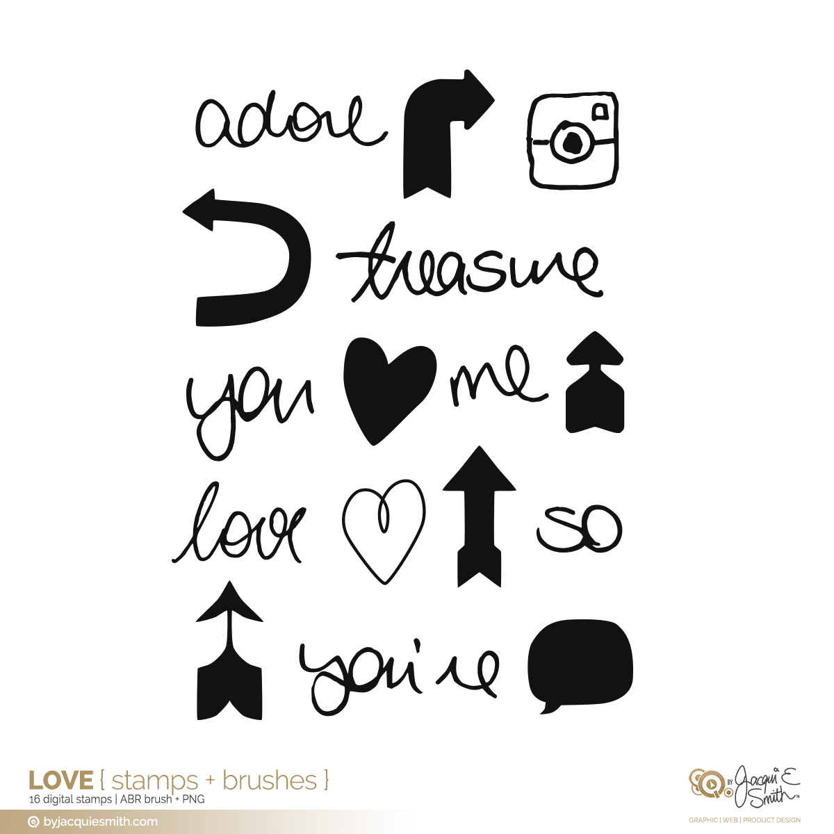 Love digital stamps + brushes at byjacquiesmith.com