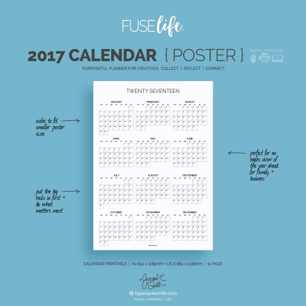 FUSElife 2017 Calendar Poster printable | A0 + US-E at byjacquiesmith.com