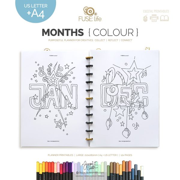 FUSElife Colour In Months planner printables | Large : A4 + US Letter at byjacquiesmith.com