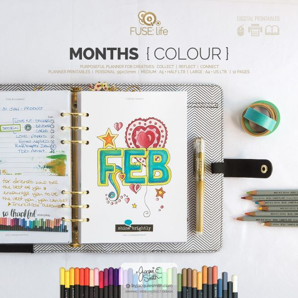FUSElife Colour In Months planner printables in 3 popular sizes at byjacquiesmith.com