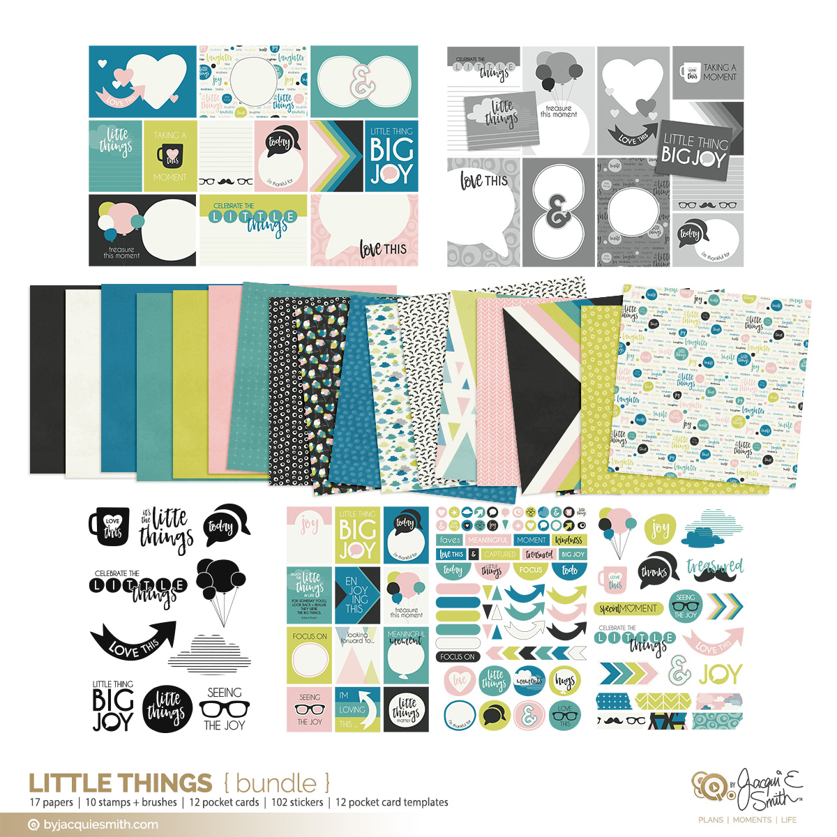 digital craft bundle, digital papers, printable planner stickers, pocket journal cards, photoshop stamps, photoshop elements brushes, pocket card layered templates, scrapbooking supplies, memory keeping products, planner printables, byjacquiesmith