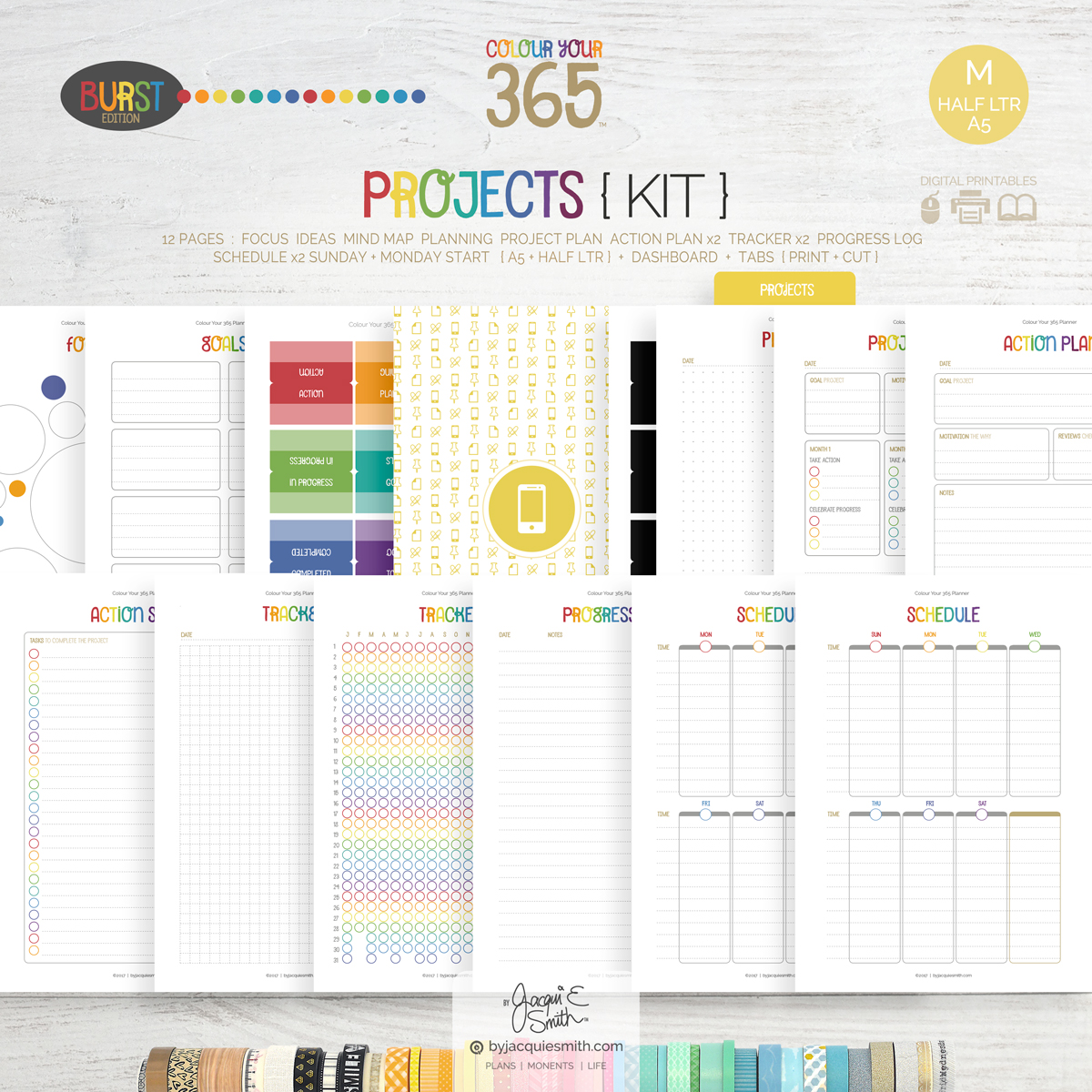 printable planner, planner kit, planner printables, digital planner refill kit, A5 planner pages, half letter planner pages