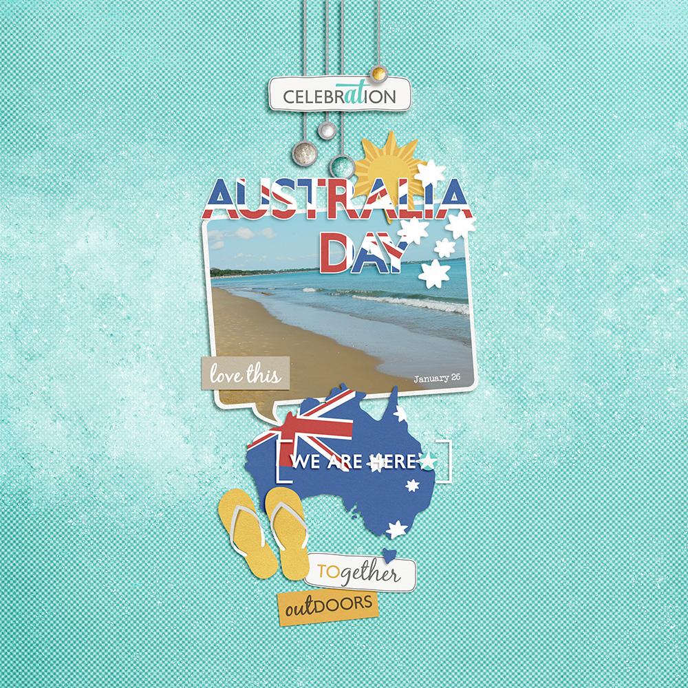 Australia Day digital layout by Jacqui E Smith