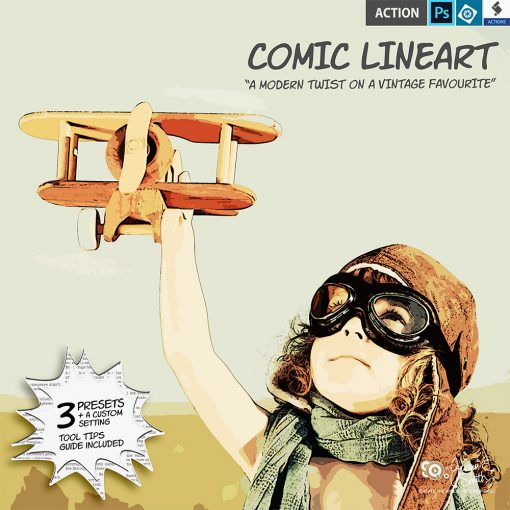 Comic LineArt actions by Jacqui E Smith