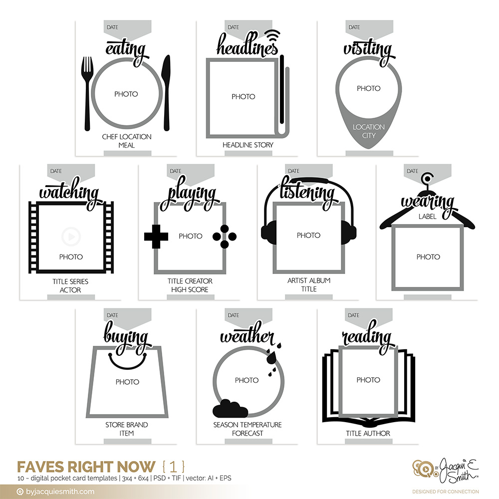 Faves Right Now digital pocket card templates by Jacqui E Smith