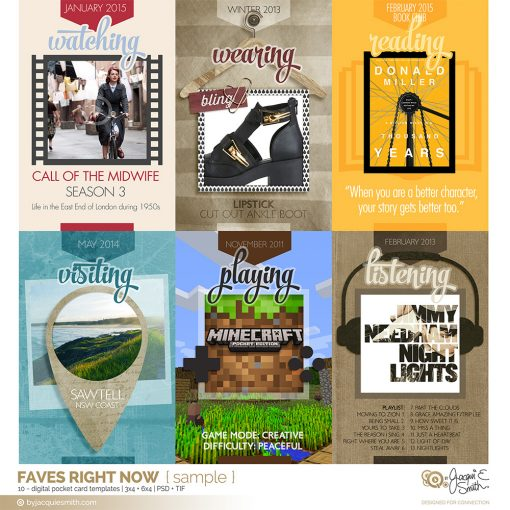 Faves Right Now digital pocket card templates sample by Jacqui E Smith