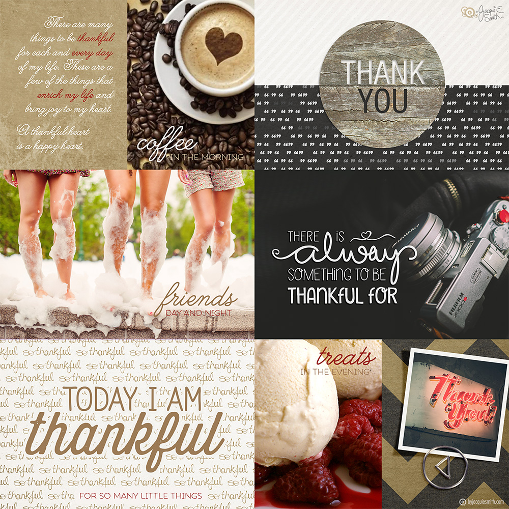 Today I Am Thankful pocket scrapbooking layout by Jacqui E Smith