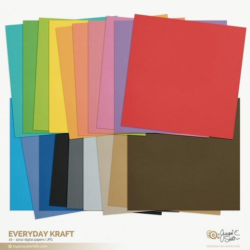 Everyday Kraft digital paper by Jacqui E Smith