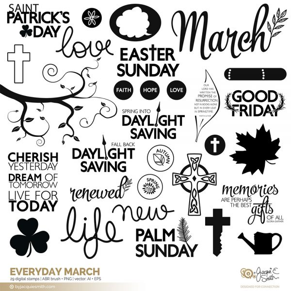 Everyday March digital stamps: vector, brushes, stamps and overlays by Jacqui E Smith