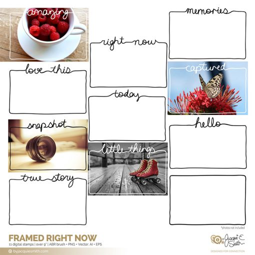 Framed Right Now stamps: vector, brushes and overlays by Jacqui E Smith